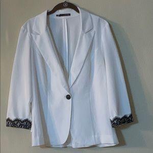 Maurices white one button blazer w/ black lace